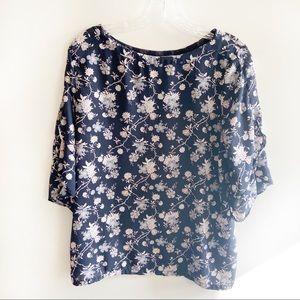 LOFT navy blue shirt floral flutter sleeves